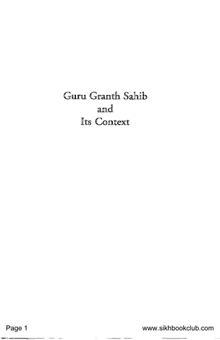 Guru Granth Sahib And Its Context
